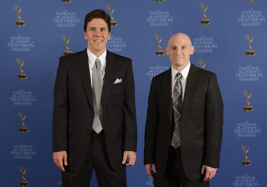 Jeff Belanger and Tony Dunne from the New England Legends television series at the Boston Emmy Awards.