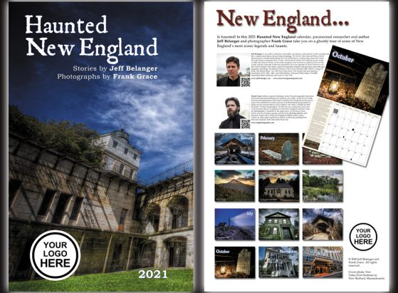 The 2021 Haunted New England calendar can be customized with your company's logo as a unique corporate gift!