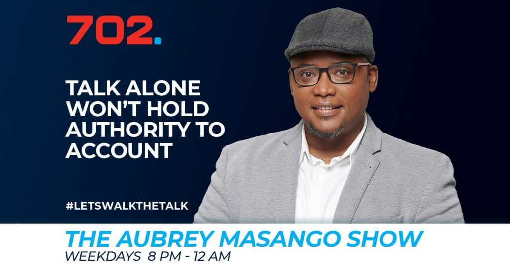 Aubrey Masango on Radio 702 in South Africa.