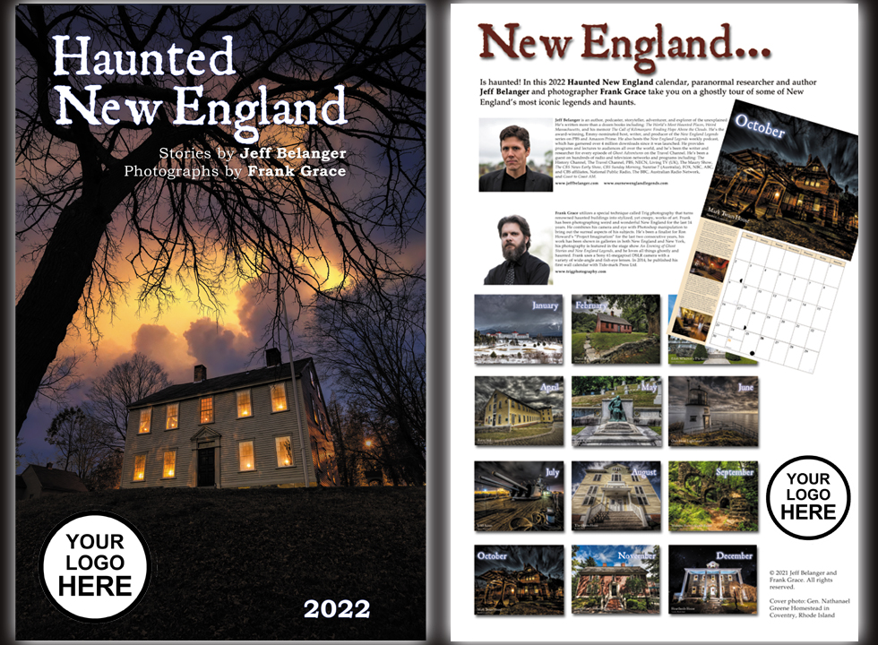 The 2022 Haunted New England calendar can be customized with your company's logo as a unique corporate gift!